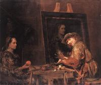 Gelder, Aert de - Self-Portrait at an Easel Painting an Old Woman